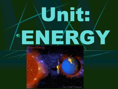 Unit: ENERGY Topic 1: Types of Energy Energy = The ability to do work or produce heat Unit of energy = the Joule = J Two types: Potential Kinetic Lord.
