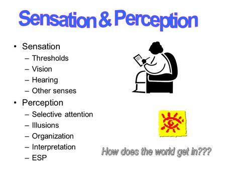 Sensation –Thresholds –Vision –Hearing –Other senses Perception –Selective attention –Illusions –Organization –Interpretation –ESP.