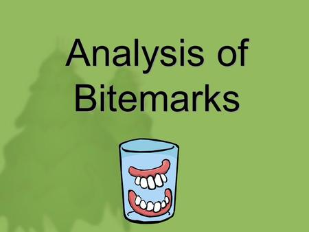 Analysis of Bitemarks. Forensic Dentistry We will focus on a specific element of forensic dentistry – specifically, bitemark analysis –Here, a dentist.