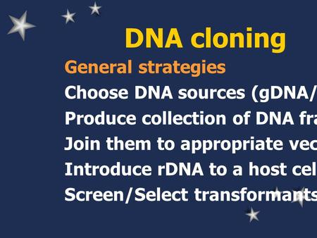 DNA cloning General strategies Choose DNA sources (gDNA/cDNA) Produce collection of DNA fragments Join them to appropriate vector Introduce rDNA to a host.