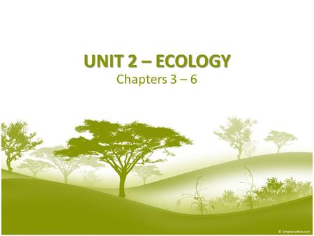 UNIT 2 – ECOLOGY Chapters 3 – 6. 3.1: What is Ecology? Biosphere Biosphere—all life on Earth & all parts of Earth where life exists – Deep ocean  above.