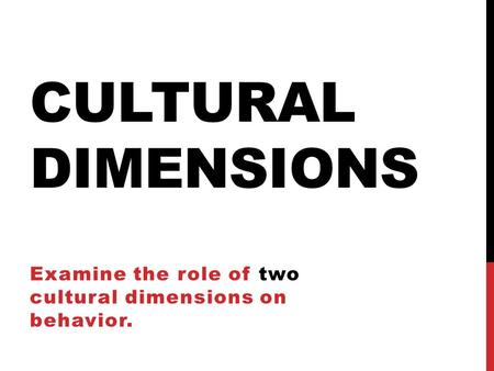 cultural dimensions on behavior essay Start studying examine the role of two cultural dimensions on behavior: individualism vs collectivism learn vocabulary, terms, and more with flashcards, games, and other study tools.