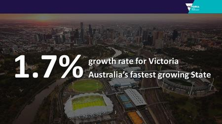 1.7% growth rate for Victoria Australia's fastest growing State growth rate for Victoria Australia's fastest growing State.
