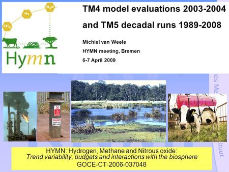 HYMN: Hydrogen, Methane and Nitrous oxide: Trend variability, budgets and interactions with the biosphere GOCE-CT-2006-037048 TM4 model evaluations 2003-2004.