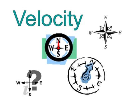 Velocity: Speed in a given direction Ex. 250 km/h North Speed = 250km/h Direction = North.