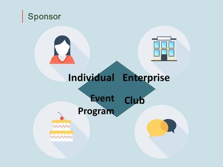 Sponsor IndividualEnterprise Event Program Club. Individual Sponsor Regular donation Occasional donation Wish charity club.