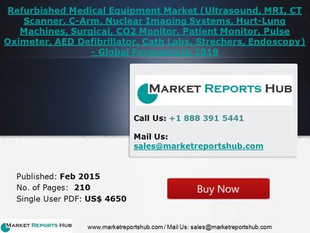 Refurbished Medical Equipment Market (Ultrasound, MRI, CT Scanner, C-Arm, Nuclear Imaging Systems, Hurt-Lung Machines, Surgical, CO2 Monitor, Patient Monitor,