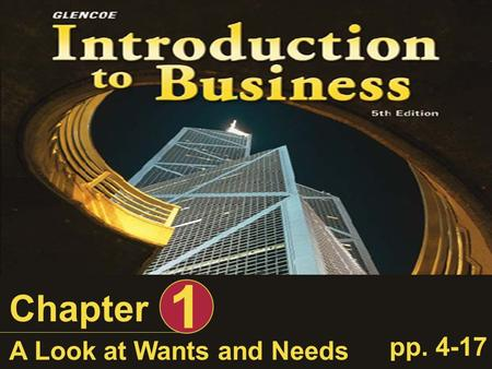 A Look at Wants and Needs Chapter 1 pp. 4-17. Introduction to Business, A Look at Wants and Needs Slide 2 of 54 Learning Objectives After completing this.