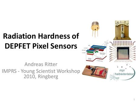 Radiation Hardness of DEPFET Pixel Sensors Andreas Ritter IMPRS - Young Scientist Workshop 2010, Ringberg 1.