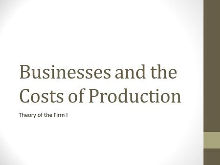 Businesses and the Costs of Production Theory of the Firm I.
