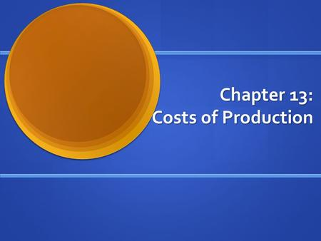 Chapter 13: Costs of Production. The Supply and Demand In Economy, Supply and Demand Basically runs all market activity. In Economy, Supply and Demand.