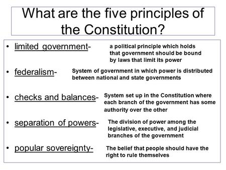 Limited government- federalism- checks and balances- separation of powers- popular sovereignty- What are the five principles of the Constitution? The belief.