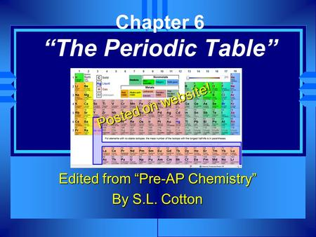 "Chapter 6 ""The Periodic Table"" Edited from ""Pre-AP Chemistry"" By S.L. Cotton Posted on website!"