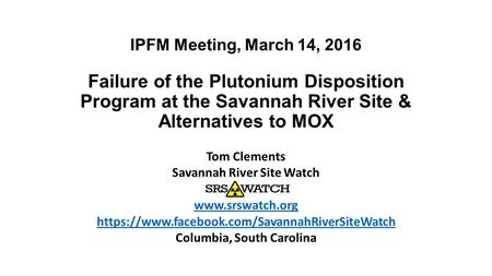 Savannah River Site Watch Columbia, South Carolina