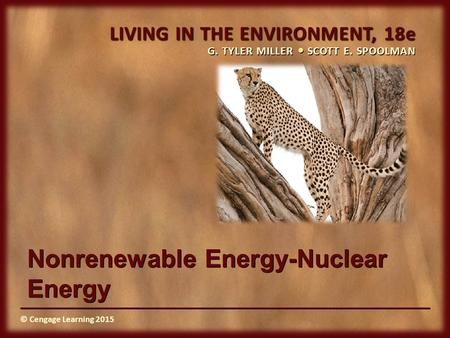 © Cengage Learning 2015 LIVING IN THE ENVIRONMENT, 18e G. TYLER MILLER SCOTT E. SPOOLMAN © Cengage Learning 2015 Nonrenewable Energy-Nuclear Energy.