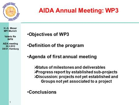 H.-G. Moser MPI Munich Valerio Re INFN AIDA Annual Meeting: WP3 1 Objectives of WP3 Definition of the program Agenda of first annual meeting  Status of.