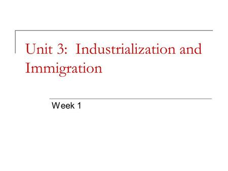 Unit 3: Industrialization and Immigration Week 1.