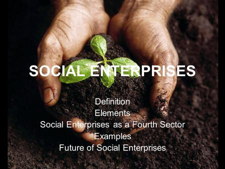SOCIAL ENTERPRISES Definition Elements Social Enterprises as a Fourth Sector Examples Future of Social Enterprises.