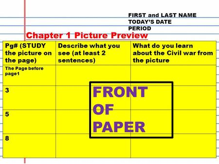 FIRST and LAST NAME TODAY'S DATE PERIOD Chapter 1 Picture Preview Pg# (STUDY the picture on the page) Describe what you see (at least 2 sentences) What.