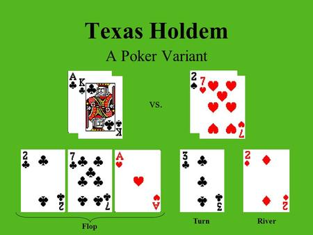 Texas Holdem A Poker Variant vs. Flop TurnRiver. How to Play Everyone is dealt 2 cards face down (Hole Cards) 5 Community Cards Best 5-Card Hand Wins.
