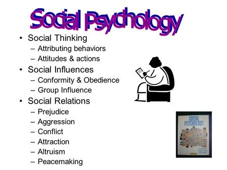 Social Thinking –Attributing behaviors –Attitudes & actions Social Influences –Conformity & Obedience –Group Influence Social Relations –Prejudice –Aggression.