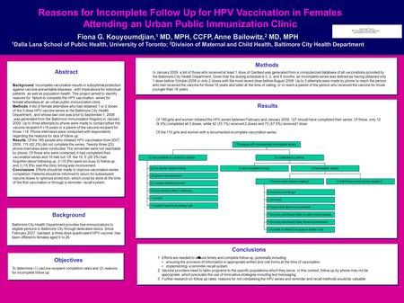 Reasons for Incomplete Follow Up for HPV Vaccination in Females Attending an Urban Public Immunization Clinic Fiona G. Kouyoumdjian, 1 MD, MPH, CCFP, Anne.
