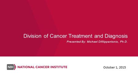 Division of Cancer Treatment and Diagnosis Presented By: Michael Difilippantonio, Ph.D. October 1, 2015.