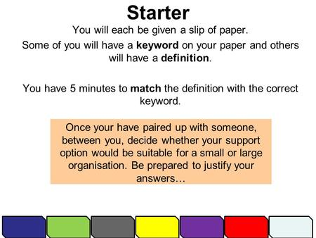 Starter You will each be given a slip of paper. Some of you will have a keyword on your paper and others will have a definition. You have 5 minutes to.
