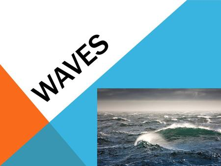 WAVES. WAVES ARE WAVES, BUT WE WILL TALK ABOUT THEM AS TWO TYPES 1.Waves away from shore. a.These waves aren't interacting with the bottom. b.What you.