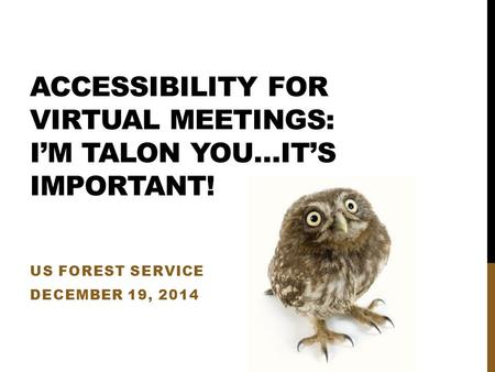 ACCESSIBILITY FOR VIRTUAL MEETINGS: I'M TALON YOU…IT'S IMPORTANT! US FOREST SERVICE DECEMBER 19, 2014.