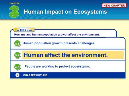 The BIG idea Humans and human population growth affect the environment. Human Impact on Ecosystems CHAPTER OUTLINE Human population growth presents challenges.