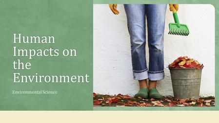 Human Impacts on the Environment Environmental Science.
