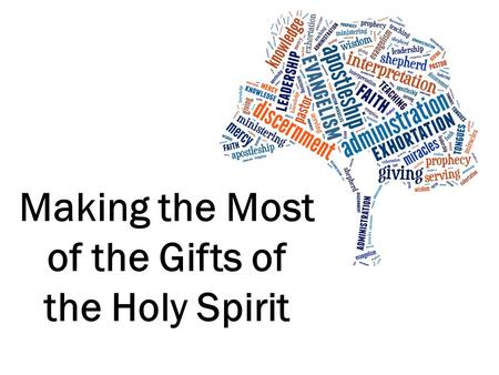 Making the Most of the Gifts of the Holy Spirit. What are they? 'Charismata' Gifts of Grace Unmerited Supernatural Essential.