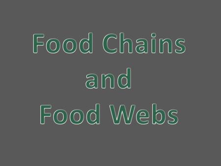 Food Chain A food chain is a sequence of organisms, each of which uses the next, lower member of the sequence as a food source Arrows go in the direction.