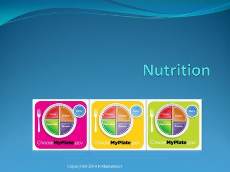 Copyright © 2014 K.Musselman. Why Nutrition? Nutrition impacts many different parts of our lives, such as Our health Energy Weight Performanc e as athletes.