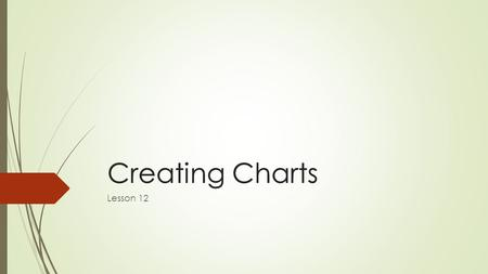 Creating ChartsCreating Charts Lesson 12. Software Orientation  The INSERT tab contains the command groups you'll use to create charts in Excel (below).