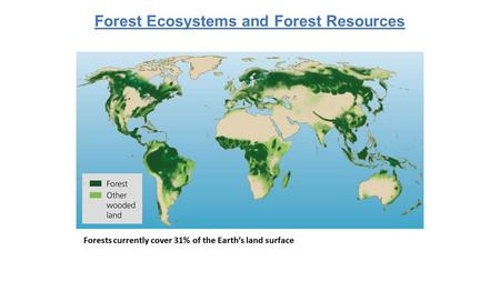 Forests currently cover 31% of the Earth's land surface Forest Ecosystems and Forest Resources.