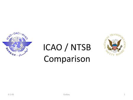 6-1-06Godsey1 ICAO / NTSB Comparison. 6-1-06Godsey2 International Civil Aviation Organization (ICAO) Mission - 'to ensure the safe and orderly growth.
