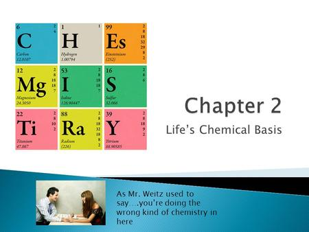 Life's Chemical Basis As Mr. Weitz used to say….you're doing the wrong kind of chemistry in here.