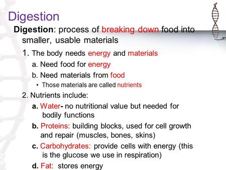 Digestion Digestion: process of breaking down food into smaller, usable materials 1. The body needs energy and materials a. Need food for energy b. Need.