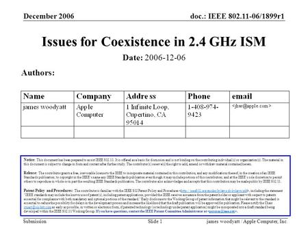 Doc.: IEEE 802.11-06/1899r1 Submission December 2006 james woodyatt / Apple Computer, Inc.Slide 1 Issues for Coexistence in 2.4 GHz ISM Notice: This document.