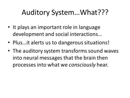Auditory System…What??? It plays an important role in language development and social interactions… Plus…it alerts us to dangerous situations! The auditory.