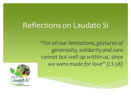 "Reflections on Laudato Si ""For all our limitations, gestures of generosity, solidarity and care cannot but well up within us, since we were made for love"""