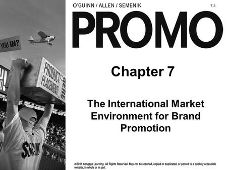 Chapter 7 The International Market Environment for Brand Promotion 7-1.