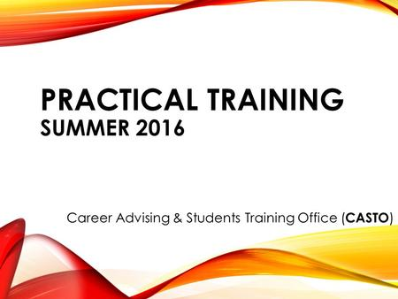 PRACTICAL TRAINING SUMMER 2016 Career Advising & Students Training Office ( CASTO )