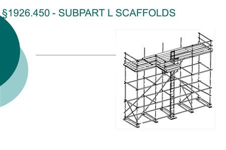 §1926.450 - SUBPART L SCAFFOLDS. History  Subpart L originally issued in December 1971  Amendments during the first two years: Planking grade Overhead.