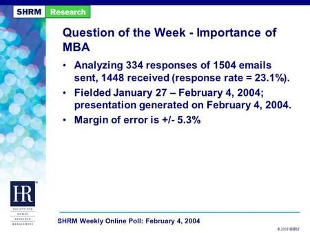 © 2003 SHRM SHRM Weekly Online Poll: February 4, 2004 Question of the Week - Importance of MBA Analyzing 334 responses of 1504 emails sent, 1448 received.