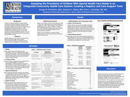 Assessing the Prevalence of Children With Special Health Care Needs in an Integrated Community Health Care System: Creating a Registry and Care Support.