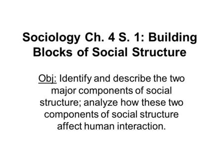 Sociology Ch. 4 S. 1: Building Blocks of Social Structure Obj: Identify and describe the two major components of social structure; analyze how these two.