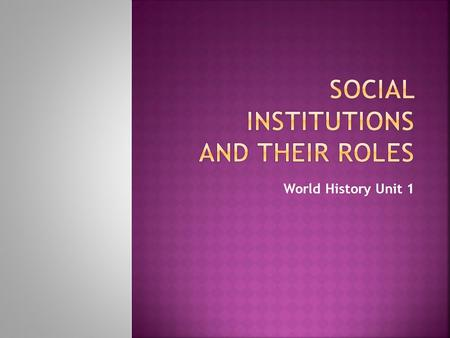 World History Unit 1.  The same 5 main social institutions exist in all societies  Social Institutions:  Established sets of norms and subsystems that.